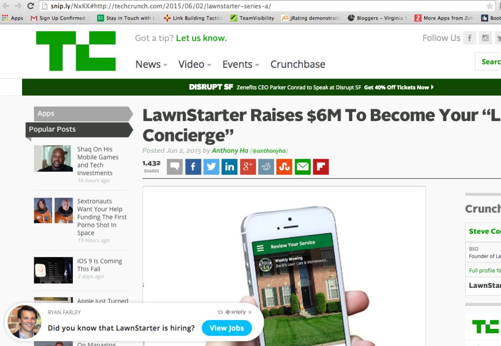 lawnstarter techcrunch screenshot sniply
