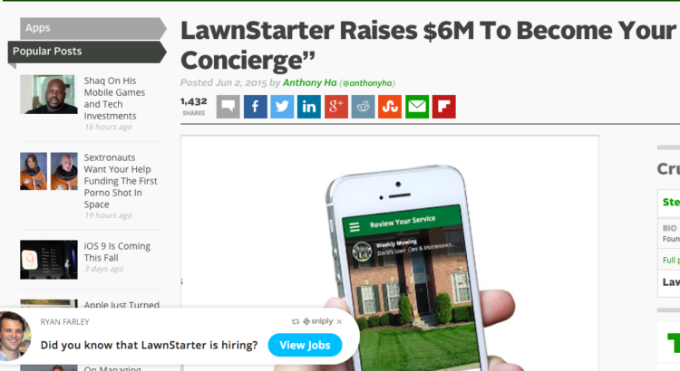 lawnstarter techcrunch screenshot sniply