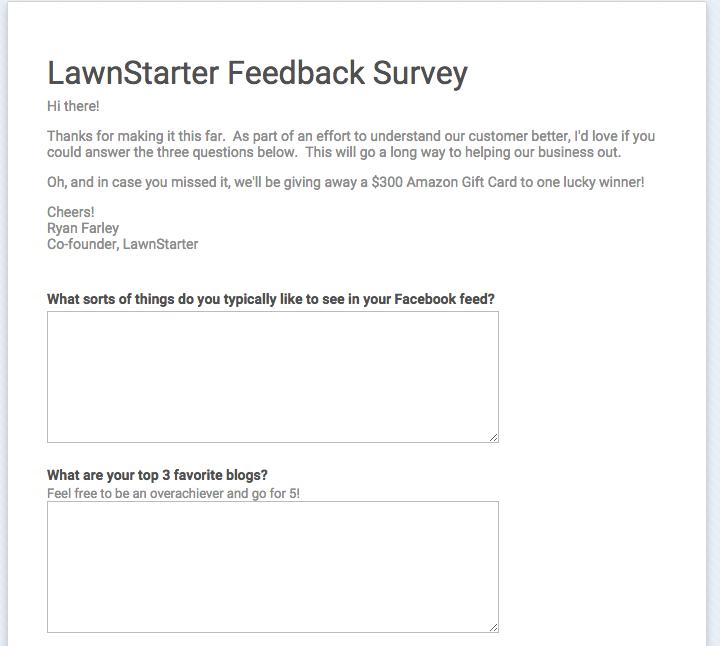 Google forms feedback customer survey